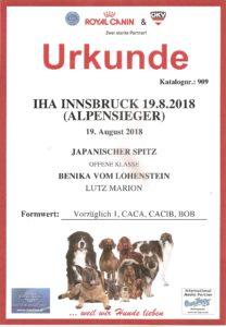 Urkunde IHA Innsbruck 19.08.2018