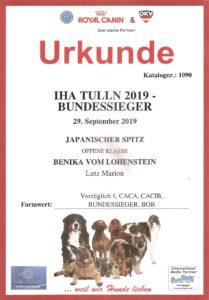 Urkunde IHA Tulln 2019 - Bundessieger